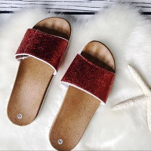 Royal Boutique • Red Glitter Slide Sandals 41